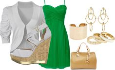 Green and Gold, created by johnsonaua4 on Polyvore