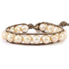 Champagne Pearl Single Wrap Bracelet on Kansa Leather