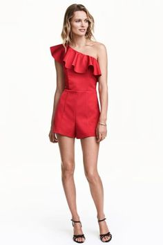 Fitted one-shoulder jumpsuit in thick satin with a wide flounce at top, silicone trim inside upper edge, and concealed side zip. Half-lined. Dark Fashion, Fashion Wear, Fashion Dresses, Latest Fashion For Women, Fashion Online, Womens Fashion, Cool Outfits, Casual Outfits, Short Playsuit