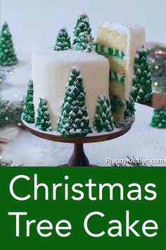 This moist, fluffy, and delicious Christmas tree cake from Preppy Kitchen has vanilla layers enrobed in creamy, vanilla buttercream, covered with beautiful Christmas trees that turn this cake into a dreamy winter wonderland. Christmas Tree Cake, Noel Christmas, Christmas Goodies, Christmas Parties, Christmas Ideas, Desserts For Christmas, Chrismas Cake, Christmas Birthday Cake, Christmas Cupcakes Decoration