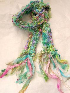 knit scarf soft colorful and curly handknit scarf - faerie party Knitted Shawls, Crochet Scarves, Freeform Crochet, Knit Crochet, Loom Knitting, Hand Knitting, Neck Accessories, Creative Knitting, Shabby Chic Fabric