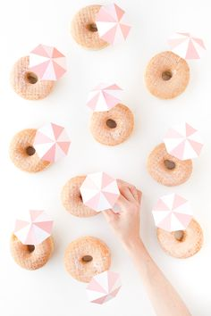 DIY Pink Umbrella Donuts--so fun for a beach party or summer soiree! Mini Donuts, Donut Decorations, Pink Umbrella, Beach Umbrella, Donut Party, Mod Wedding, Wedding Ideas, Wedding Desserts, Wedding Cakes