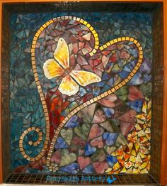 """""""My Heart Belongs to the Butterfly"""" ♥ mosaic Chrysalis Pottery www.facebook.com/BarbJohnson.pottery"""