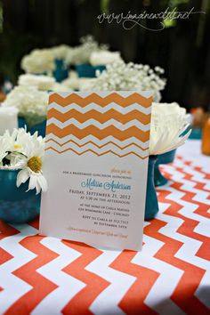 Bridesmaid luncheon invitation in orange chevron and blue ::: invite by CWG Invites and photography by Imagine Artists