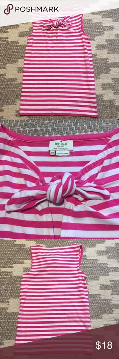 Kate Spade sleeveless top Worn a couple of times, zero flaws! Cute front tie. 95% cotton, 5% elastic kate spade Tops
