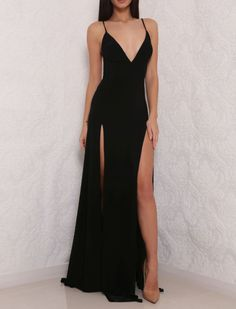 Sexy Backless Black Prom Dress,High Slit Chiffon Prom Dresses,Long Evening Dress,V Neck Evening Gowns by fancygirldress, $130.00 USD