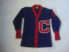 5948b81a44c Vintage 50 s C High School Rockabilly College Cardigan Varsity Sweater  Jacket S