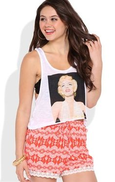 Deb Shops Deep Armhole Tank Top with Marilyn Monroe Screen and Metallic Ink $13.50