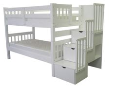 Bedz King Stairway Bunk Bed Twin over Twin with 3 Drawers in the Steps and 2 Under Bed Drawers, Grey Bunk Bed King, Bunk Beds Boys, Bunk Bed With Trundle, Bunk Beds With Stairs, Cool Bunk Beds, Kid Beds, Bunk Rooms, Under Bed Drawers, Modern Bunk Beds