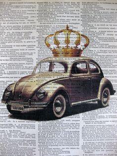 Volkswagen Beetle ORIGINAL ARTWORK Mixed Media by sherryannshop