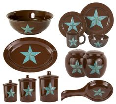rustic western star kitchen | Western Star Dinnerware Kitchen Set Southern Creek Rustic Pictures  sc 1 st  Pinterest & Turquoise Star 16 Piece Dinnerware Set | Texas roadhouse Dishes and ...