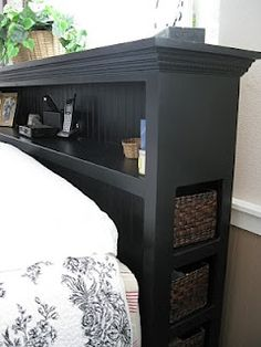 headboard with drawers and cubbies. Could do w MDF board, beadboard panel, molding around top, paint.