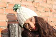White Hand Knit Cable Pom Pom Hat Winter Slouchy Hat by GeromeSM, $28.50