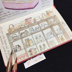 bluebelta#京都 でお茶した #カフェ の棚 出来上がり。  インテリア、小物、どれも雰囲気のあるすてきなお店でした。  店名がわからずにいたのですが、 @mi.cii.m さんに #アンドノマカフエ さんだと教えていただき、スッキリ〜。ありがとうございます!  棚の中身を少し変えて描いたのに、よくおわかりになったと思います。  こちらのお店は、 #みやこめっせ の近く。 #京都国立近代美術館 もあり、アートを楽しんだ後、余韻に浸るにも良いお店です。 やっぱり京都はすてき。  大阪にいるとき、もっと行けば良かった。  添えた文字は、戯曲「マリアへのお告げ」から。 「ああ、今このときは何と美しいのでしょう。他に何もいりません。」 #art #drawing#doodle #moleskine #pensketch #urbansketchers #japan #kyoto #モレスキン  #モレスキン #棚 #絵を描く暮らし #フランス語 #フランス語筆記体 #ペンスケッチ2018/03/30 09:53:50