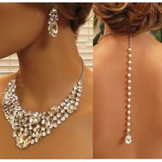 Bridal jewlery, Bridal back drop bib necklace earrings , vintage inspired rhinestone bridal necklace statement, wedding jewelry Crystal Statement Necklace, Drop Necklace, Statement Jewelry, Infinity Earrings, Necklace Charm, Bracelet Bras, Jewelry Bracelets, Prom Jewelry, Summer Jewelry