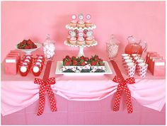 Strawberry themed baby shower. Pink, red and polka dots.