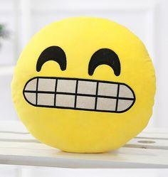 Emoji Plush Cushion - Grinning | Plush Yellow Emoticon. | Emoji