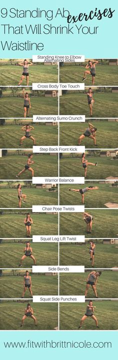 Fitness Motivation : Description Get a great ab workout without ever touching th. Fitness Motivation : Description Get a great ab workout without ever touching the floor! Here are 9 amazing standing ab exercises that will shrink your waistline! Fitness Workouts, Great Ab Workouts, Fitness Motivation, Fitness Diet, Yoga Fitness, At Home Workouts, Health Fitness, Fat Workout, Fitness Plan