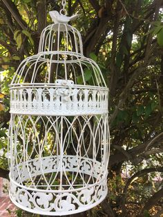 Your place to buy and sell all things handmade Shabby Chic Patio, Vintage Shabby Chic, Decor Wedding, Wedding Cards, Wedding Decorations, Vintage Garden Decor, Cute Birds, Bird Cage, Plant Hanger