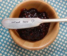 "This is for 1 silver plated butter/jam knife with the words ""Spread Love"" hand stamped onto it.     This would make a great housewarming gift, bridal shower gift, and hostess gift. Just add a bottle of wine or cheese to a bag and it would make a very thoughtful gift. Why not buy one for yourself ..."