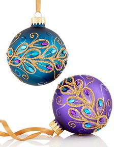Holiday Lane Peacock Glass Ball Ornaments, Set of 2 - Christmas Ornaments - For… Peacock Christmas Tree, Peacock Ornaments, Painted Christmas Ornaments, Purple Christmas, House Ornaments, Hand Painted Ornaments, Ball Ornaments, Diy Christmas Ornaments, Christmas Colors