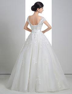 Balklänning Brudklänning ( Spets Organza Charmeuse ) Urringad Golvlång –  SEK Kr. 2 9cae25fc0cdd6