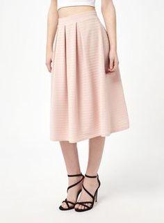 Nude Textured Midi Skirt