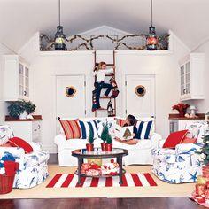 Beach Decor: Festive Holiday Rooms as seen in Coastal Living Magazine. Decor, Blue Decor, Christmas Decor Inspiration, Nautical Christmas, Cottage Christmas, Holiday Room, Home Decor, Modern Beach Decor, Coastal Christmas
