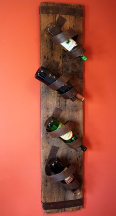 Barn board Wine bottle Holder by BlueOverallDesigns on Etsy Barn Board Crafts, Barn Board Projects, Home Projects, Barn Boards, Wine Craft, Wine Bottle Crafts, Wine Bottle Holders, Leather Projects, Barn Wood
