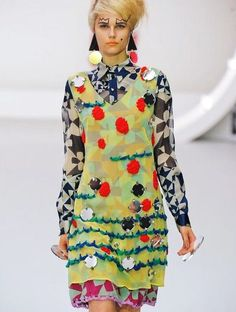 Louise Gray SS2013 Clashing prints & applique embelishment