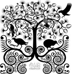 "Native birds of New Zealand (kea, kiwi, pukeko, tui and fantail) in a Pohutukawa tree (the kiwi ""Christmas tree"")"
