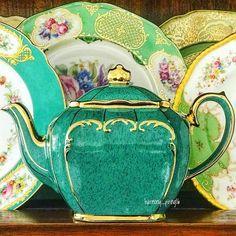 Vintage Green Cube Tea Pot by Sadler England 💚💚💚🍀💚🍀💚💚🍀💚