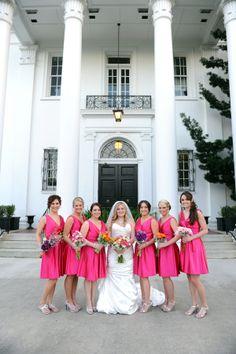 Bridesmaids in Fuchsia | Old Governor's Mansion,Louisiana Wedding| Photographer: Lauren Carroll Photography