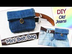 Waist Purse, Belt Purse, Belt Pouch, Diy Purse, Diy Old Jeans, Denim Handbags, Small Sewing Projects, Pouch Pattern, Bag Making