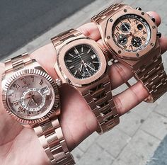 18k Rose Gold Fever ! Rolex Skydweller, Patek Philippe Nautilus Chronograph, and Audemars Piguet Royal Oak Offshore Chronograph.