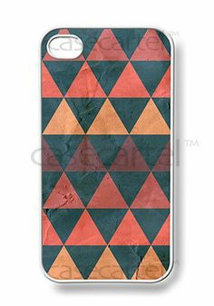 Amazon.com: Apple iPhone 4 4G 4S Dark Green Orange and Magenta Hipster Aztec Navajo Triangle Print 1 Indian Cool Ethnic WHITE Sides Slim HAR...
