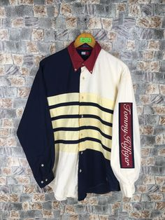 ea1a702b Vintage TOMMY HILFIGER Usa Flag Shirts Mens Large 90's Tommy Sailing Gear  Colorblock Tommy Jeans Stripes Multicolour Oxfords Shirt Size L