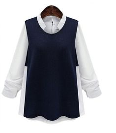 2017 New Arrival 5XL 4XL 3XL Autumn Women Fashion Loose Stand Collar Long sleeve Patchwork Big Plus size Navy Shirt Blouses Tops
