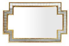 "17""W x 1.6""D x 45""H Jolisa Oversize Mirror, Gold onekingsplace.com"