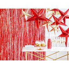 Red Hanging Star Decoration | Christmas Decorations | Party Deco – The Original Party Bag Company Star Decorations, Christmas Party Decorations, Festival Decorations, Birthday Decorations, Christmas Lights, Christmas Stuff, Red Party, Star Party, Photo Booth Backdrop