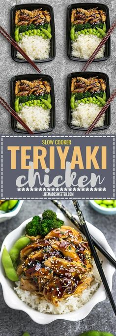 Slow Cooker or Instant Pot Teriyaki Chicken coated in a homemade sweet and savory Teriyaki sauce that is even better than your local Japanese takeout restaurant! Best of all it's full of authentic flavors and super easy to make with just 10 minutes of pr Lunch Meal Prep, Healthy Meal Prep, Weekly Meal Prep, Lunch Menu, Crockpot Recipes, Cooking Recipes, Healthy Recipes, Slow Cook Chicken Recipes, Healthy Japanese Recipes