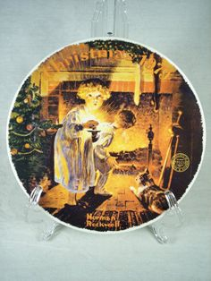 """Christmas 1979 Decorative Plate with Image 'Somebody's Up There' by Norman Rockwell, 8"""""""