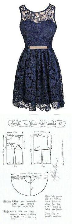Want to make a lace dress Dress Sewing Patterns, Sewing Patterns Free, Clothing Patterns, Diy Clothing, Sewing Clothes, Diy Fashion, Ideias Fashion, Fashion Design, Diy Dress