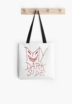My Dark Side Typographic Design Tote Bag by Dflcprints Hand draw pencil drawing raster typographic illustration tote bag in grunge or rough stlye with the statement my dark side ideal for halloween dark or creepy designs #totebags, #halloweenbags, #darkside tote bag, typographic tote bag, printed tote bag, tote bag for sale online, darkside quote tote bag, hand drawn tote bag, redbubble tote bag, funny tote bag