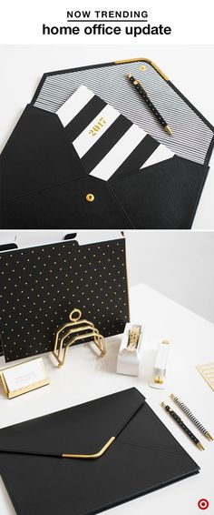 Work at home like a pro with our collection by Sugar Paper. Their sophisticated black, white and gold options, like folders, folios, card holders, pens, staplers and more, will get you motivated (and