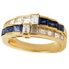 Damiani Sapphire Diamond Gold Band Ring | From a unique collection of vintage band rings at https://www.1stdibs.com/jewelry/rings/band-rings/