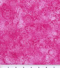 Keepsake Calico Fabric-Sundrenched Butterfly Flowers Pink Item #9536897. IN STASH. Used on Lindsay's quilt