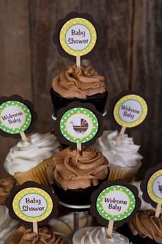 Carriage Cupcake Toppers Baby Shower - Gender Neutral