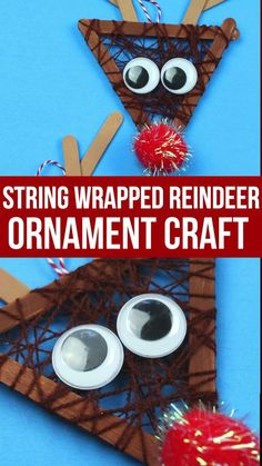 This wrapped string Rudolph ornament craft uses popsicle sticks wrapped in string to create adorable reindeer to hang on your tree or display as a craft. Christmas Crafts For Kids To Make, Christmas Activities For Kids, Preschool Christmas, Kids Christmas, Craft Stick Crafts, Preschool Crafts, Diy Crafts, Reindeer Craft, Ornament Crafts