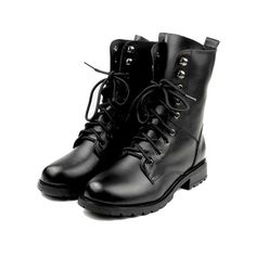Lace Up Leather Biker Boots (580 BRL) ❤ liked on Polyvore featuring shoes, boots, ankle booties, sapatos, chicnova, lace-up ankle booties, biker boots, lace-up booties, leather boots and leather lace up boots